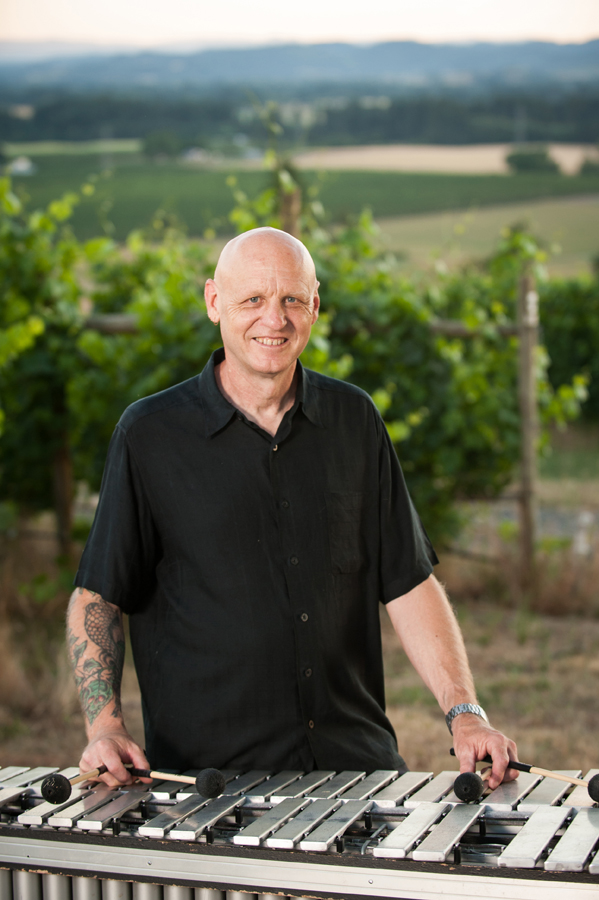 Dennis Elmer with vibes during photo shoot at Carlton Cellars Vineyard
