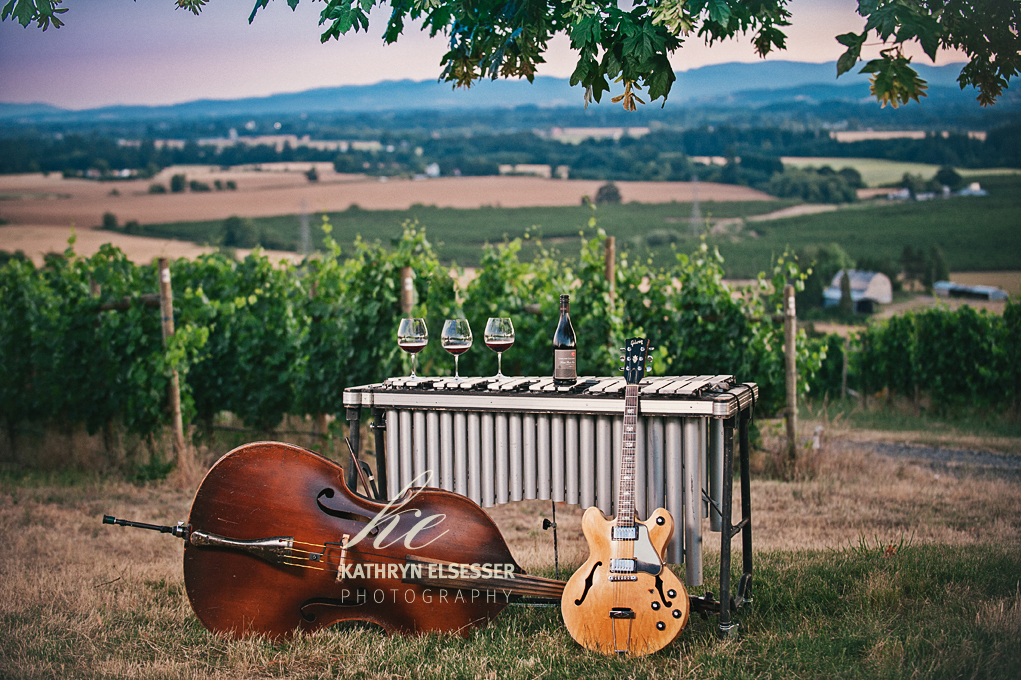 instruments and Carlton Cellars during HERTRIO promotional Shoot at at Carlton Cellars Vineyard