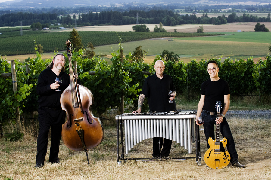 Jazz Musicians Frank Huston, Mathew Rotchford and Dennis Elmer, members of HERTrio in the Carlton Cellars Vineyard in Carlton, Oregon