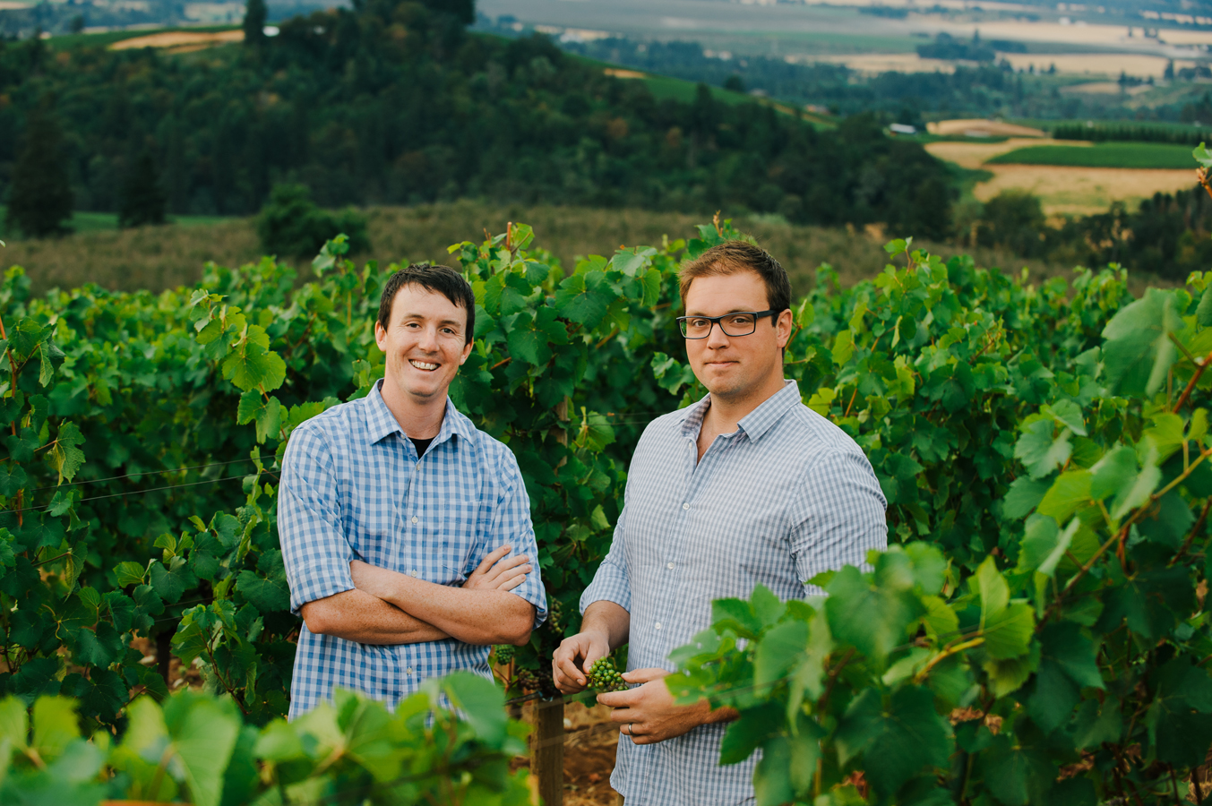 Geoffrey Hall, vineyard manager and Karl Weichold at Erath Winery, in Dundee, Oregon