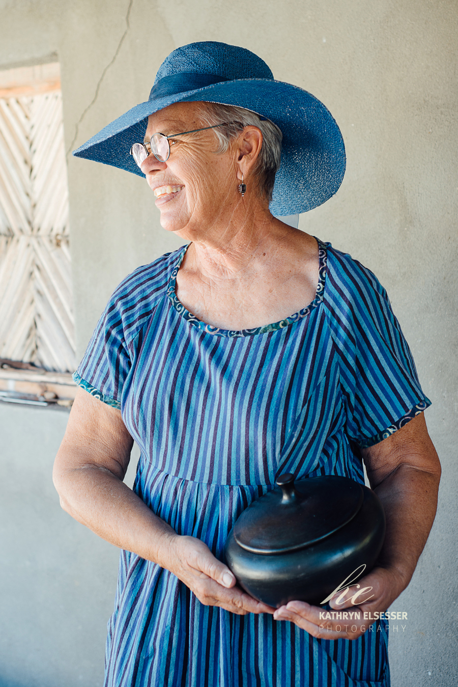 Lorna Hankins, an artist with one of her pots in her village of La Candelaria, Baja, Mexico