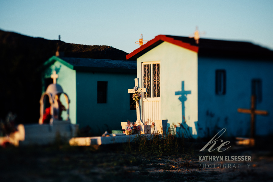 Cemetery in the village of La Candelaria in Baja, Mexico