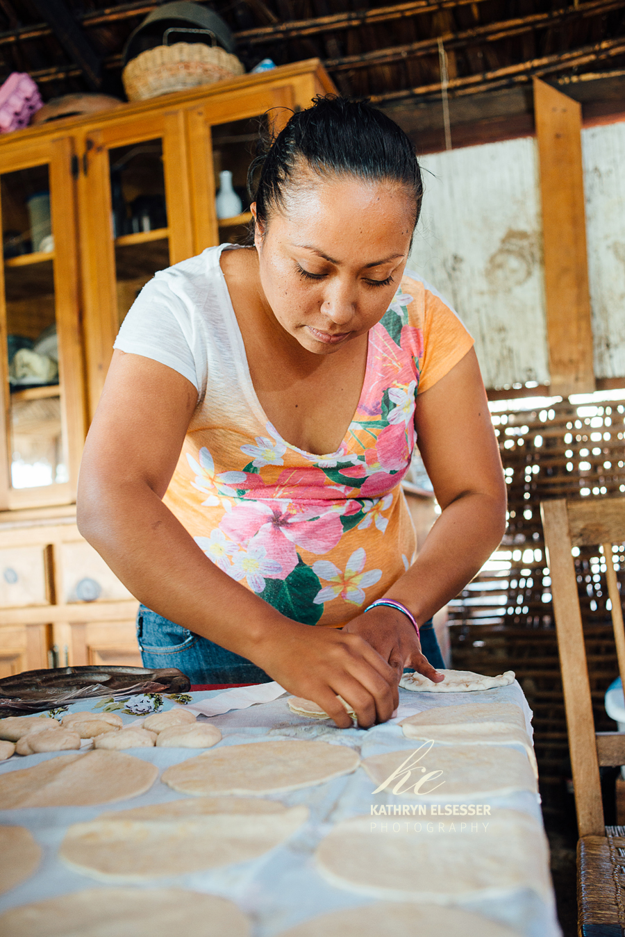 Lupita making empanadas in the village of La Candelaria in Baja, Mexico
