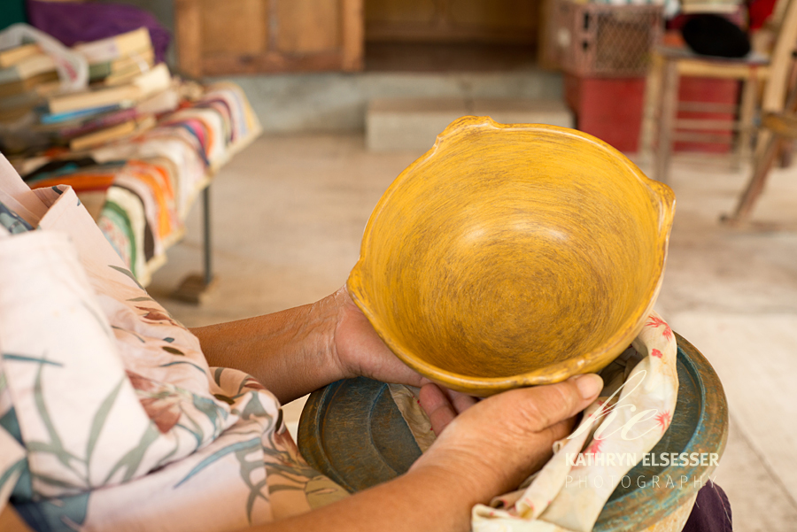 Lorna's polished  pottery in the village of La Candelaria in Baja, Mexico