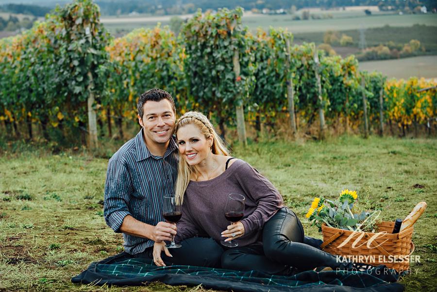 Monique & Jeff's Vineyard Engagement Portrait at Carlton Cellars