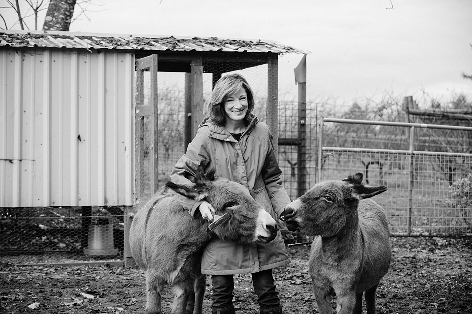 Robin with her donkeys Carlton Cellars Vineyard