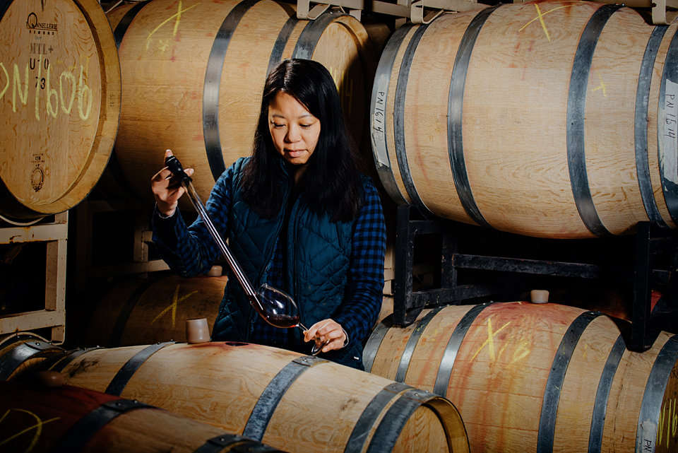 Foris Winery's winemaker Stephanie Pao barrel tasting.