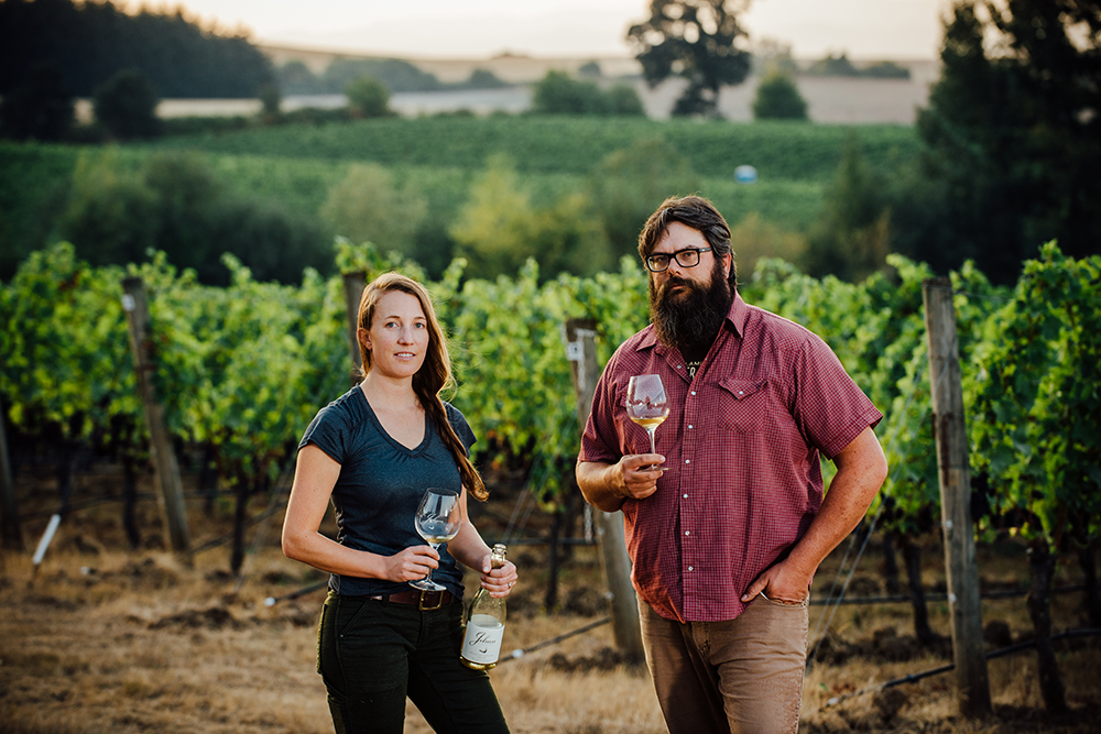 Dan Rinke and Morgan Hall at Johan Vineyards at sunset
