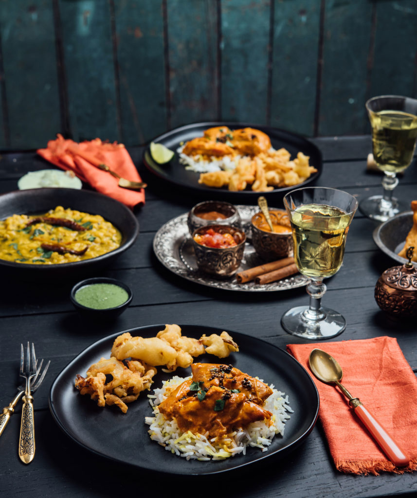 Styled Indian Dinner featuring menu from Swagat Restaurant
