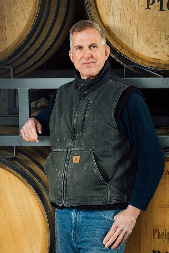 Assistant winemaker Ira Kraft for Phelps Creek Vineyards in Hood River Oregon.